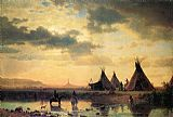 Village Canvas Paintings - View of Chimney Rock, Ogalillalh Sioux Village in Foreground